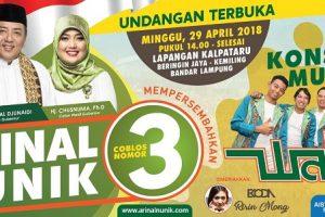 Arinal-Nunik Gelar Hiburan Masyarakat Lampung Bareng Wali Band